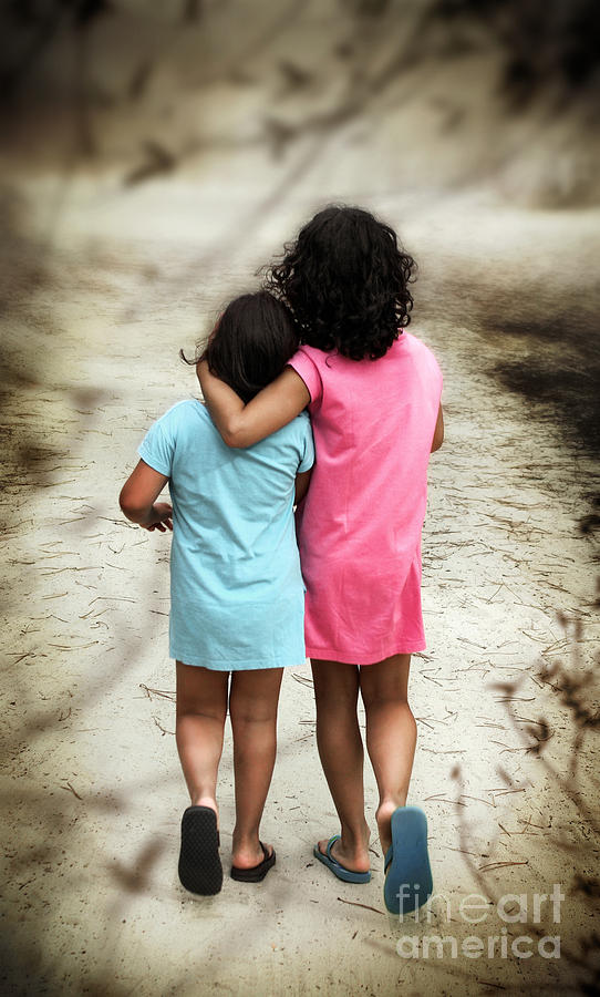 Walking Girls Photograph  - Walking Girls Fine Art Print