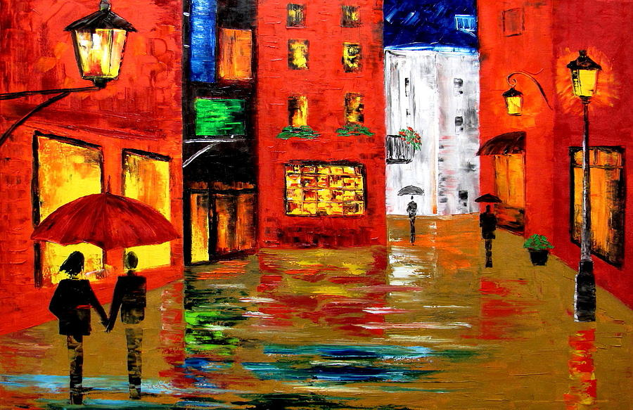 Landscape Painting - Walking In The Rain by Mariana Stauffer