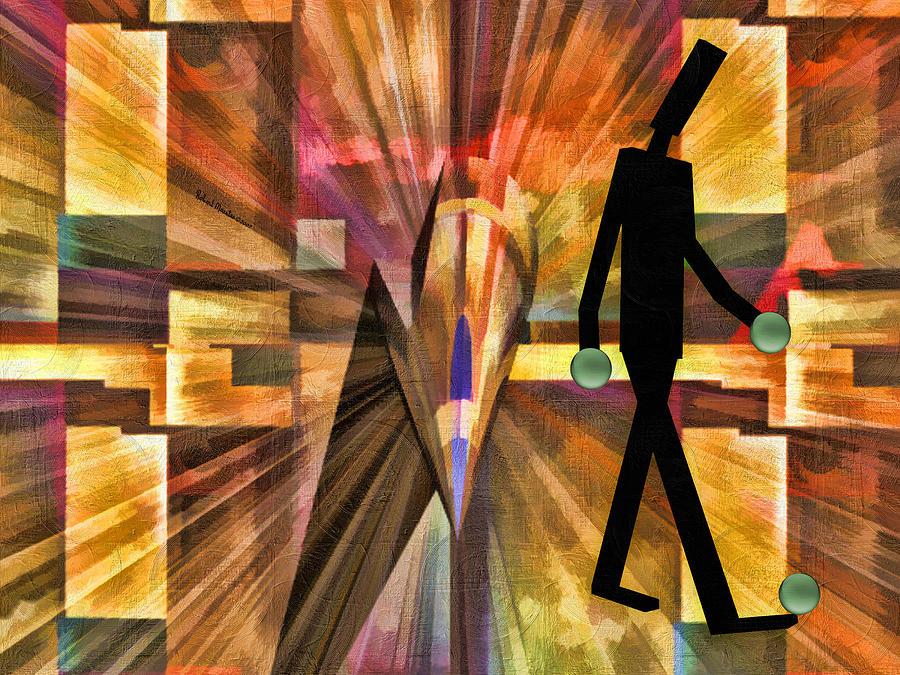 Abstract Painting - Walking Man by Robert Maestas