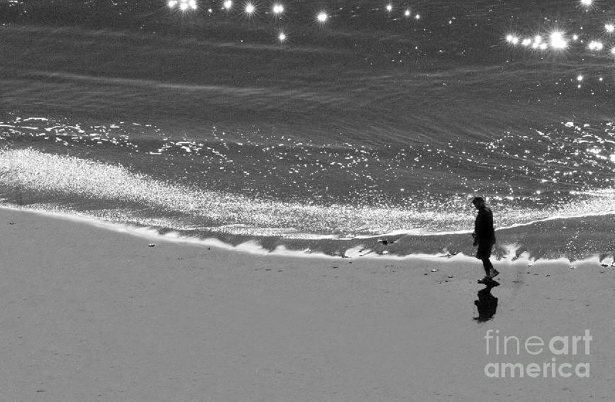 Man Walking On Beach Photograph - Walking With God by Artist and Photographer Laura Wrede