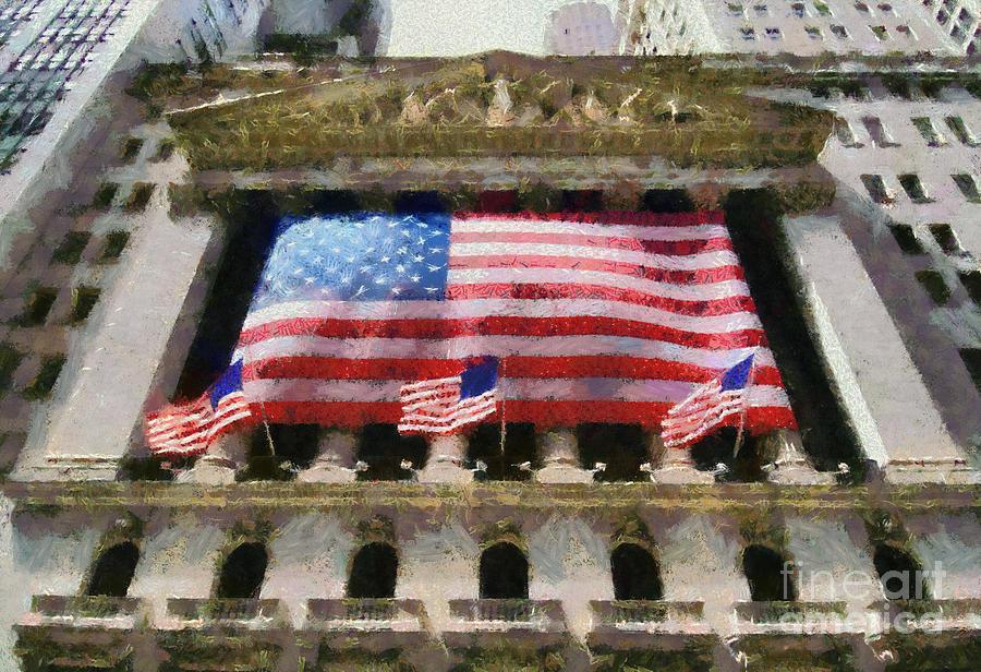 New York; Ny; N.y.; Nyc; Manhattan; Usa; U.s.a.; North America; American; Stock Exchange; Wall Street; Finance; Economics; Investment; Money; Funds; Flag; Flags; Paint; Painting; Paintings Painting - Wall Street by George Atsametakis