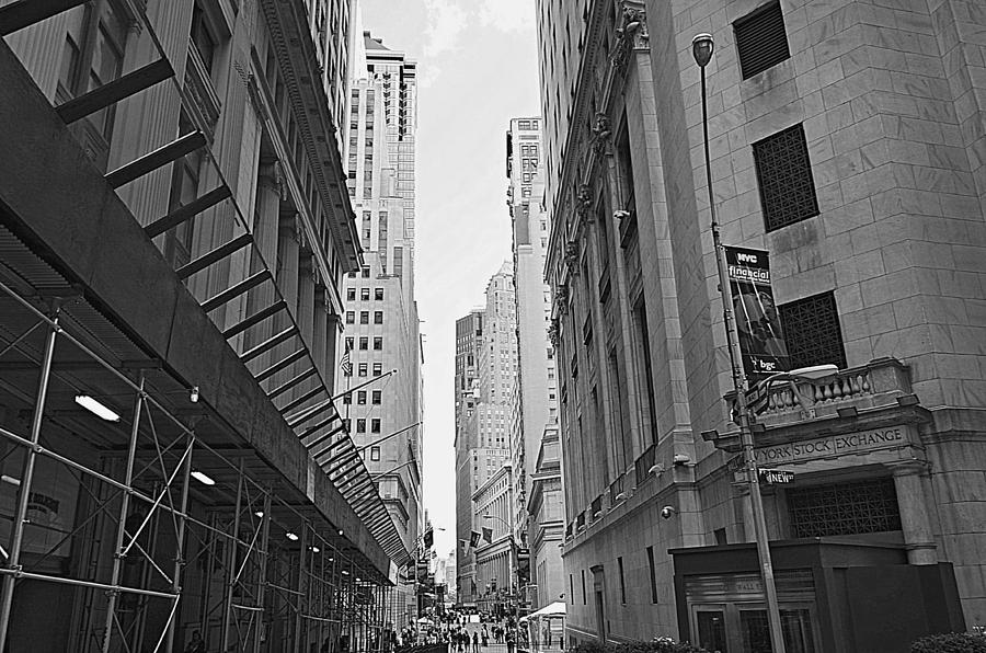 Street Wall Art Black And White : Wall street in black and white photograph by ingrid zagers