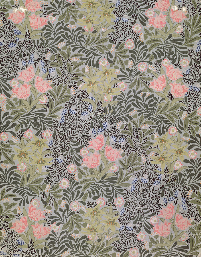 Tulip Tapestry - Textile - Wallpaper Design With Tulips Daisies And Honeysuckle  by William Morris