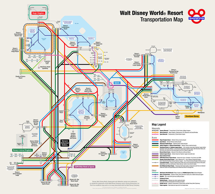 Walt Disney World Resort Transportation Map Digital Art