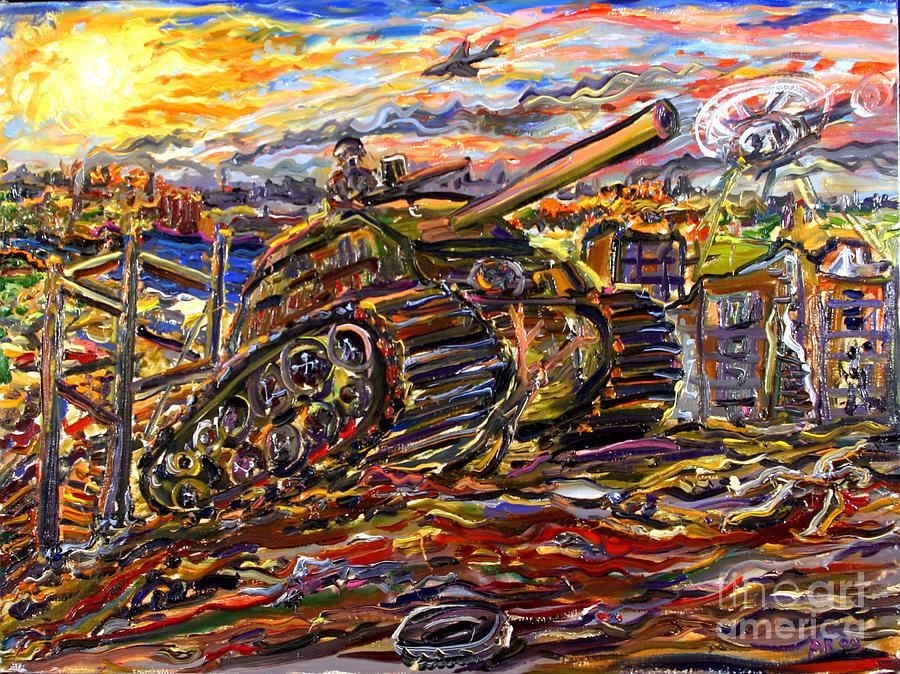 War Painting - War At Sunset by Arthur Robins