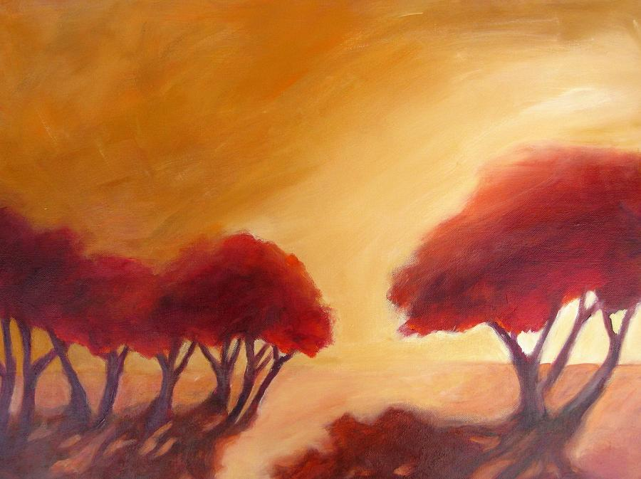 This Abstracted Landscape Is About The Shape Of The Trees And The Warm Light That Makes Everything Glow. Painting - Warm Light by Beverly Shaw-starkovich
