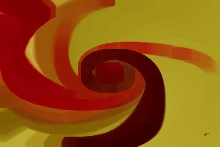 Geometric Digital Art - Warm Swirl by Ben and Raisa Gertsberg