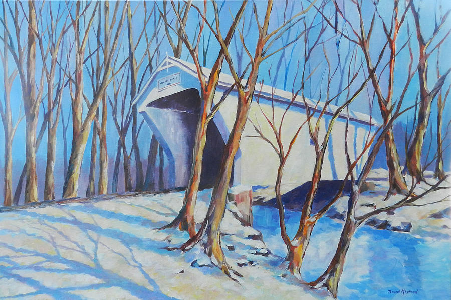 Covered Bridge Painting - Warnke Bridge Preble County by David  Maynard