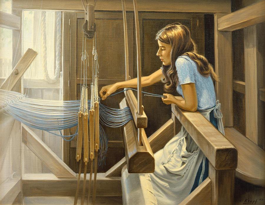 Weaver Painting - Warping The Loom  by Paul Krapf