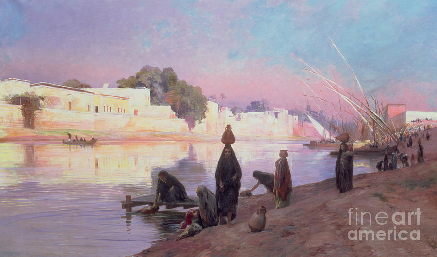 Washerwomen On The Banks Of The Nile Painting  - Washerwomen On The Banks Of The Nile Fine Art Print