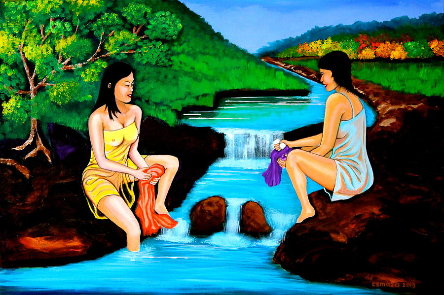 Washing In The River Painting