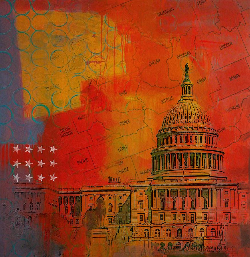 Washington Painting - Washington City Collage Alternative by Corporate Art Task Force