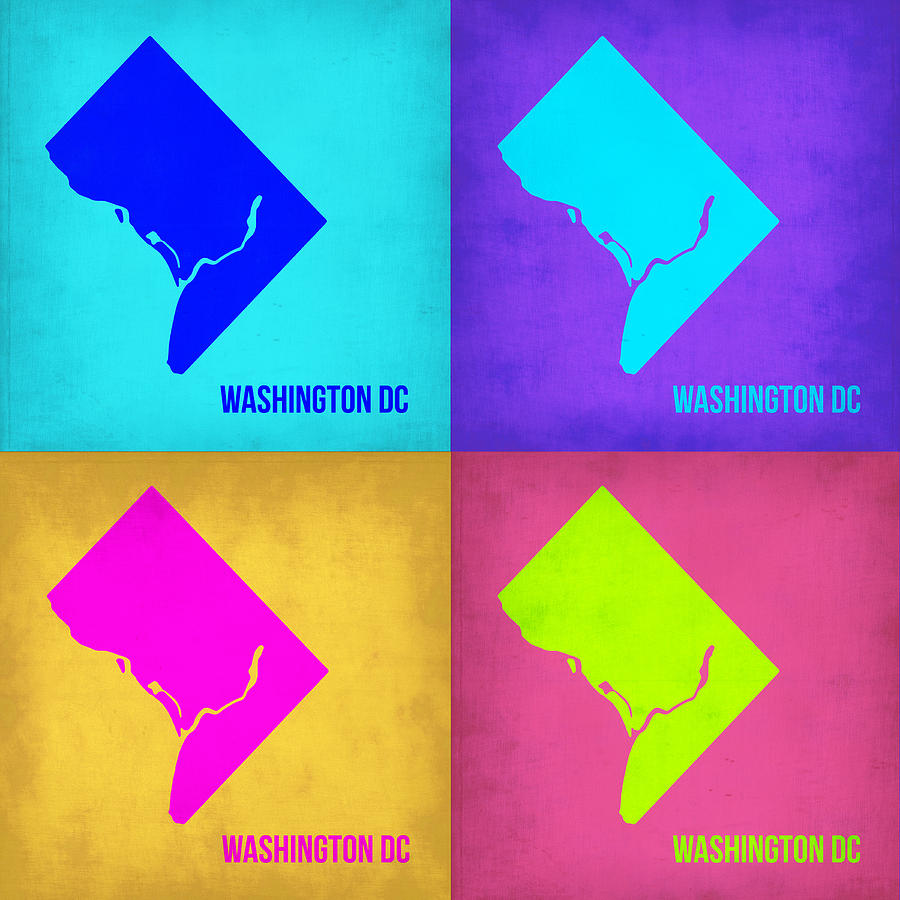 Washington Dc Pop Art Map 1 Painting  - Washington Dc Pop Art Map 1 Fine Art Print