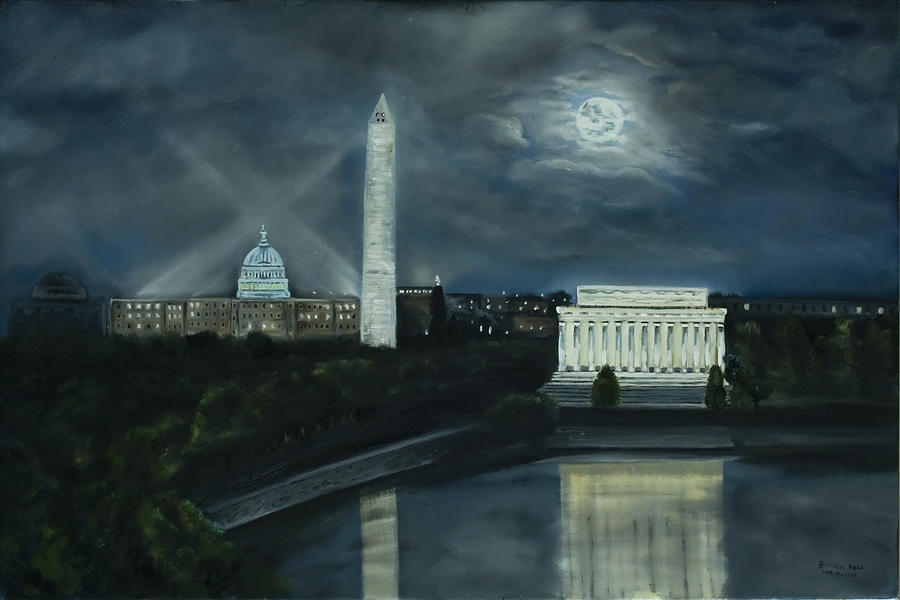 Washington Dc Under Moonlight Painting  - Washington Dc Under Moonlight Fine Art Print