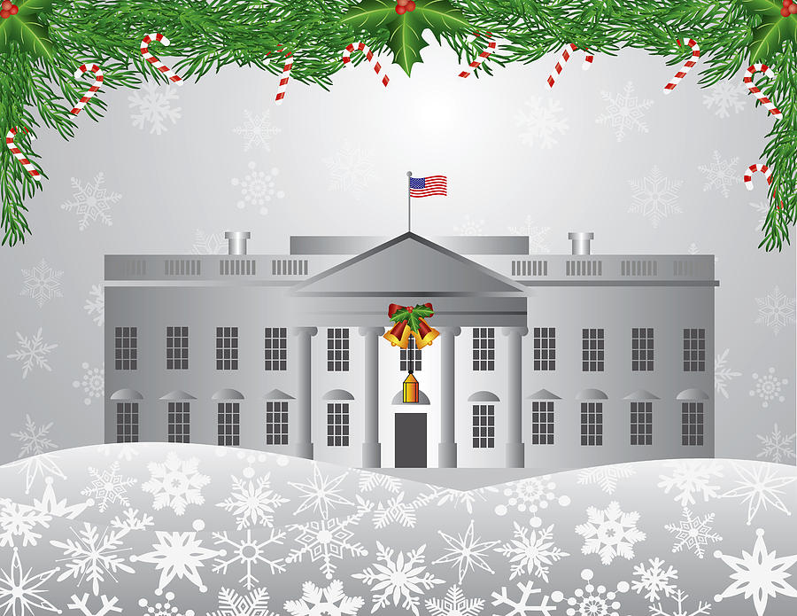 Washington Dc White House Christmas Scene Illustration Photograph