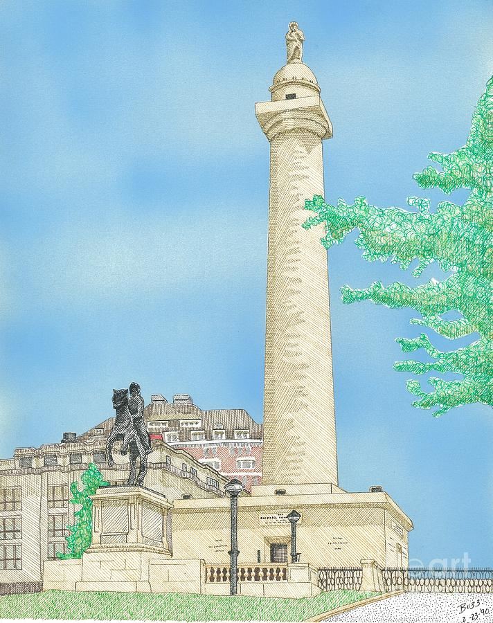 Washington Monument In Baltimore Drawing  - Washington Monument In Baltimore Fine Art Print