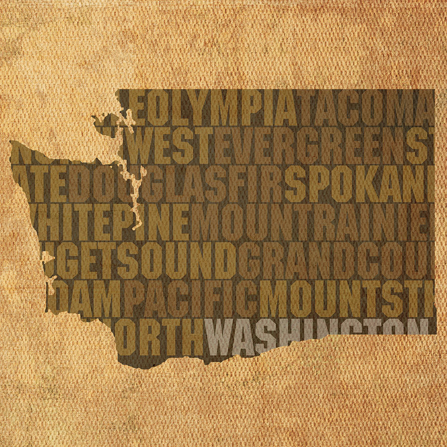 Washington Word Art State Map On Canvas Mixed Media