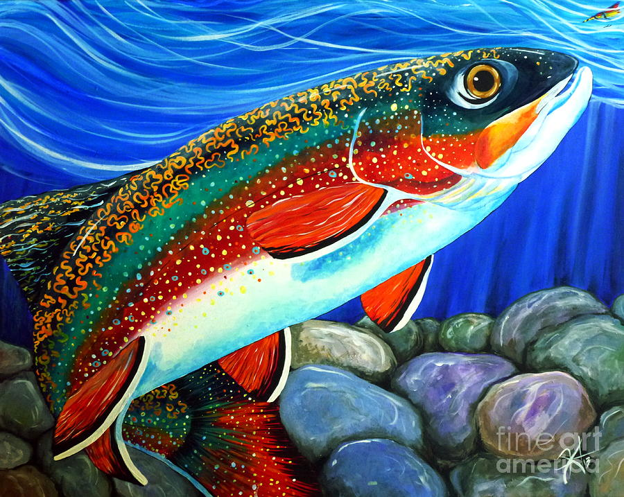 Watch Out Breeding Male Brookie Painting  - Watch Out Breeding Male Brookie Fine Art Print