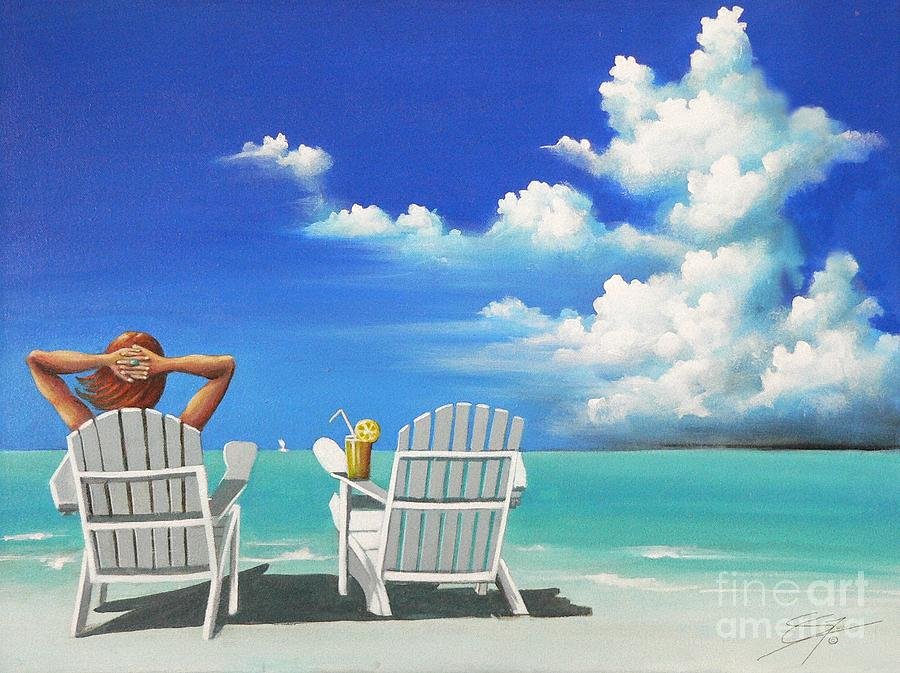 Beach Painting - Watching Clouds by Susi Galloway