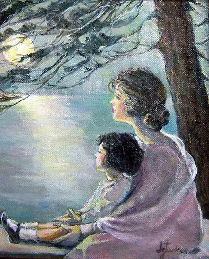 Watching The Moon Painting  - Watching The Moon Fine Art Print