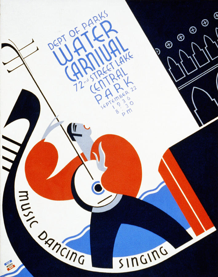 Water Carnival Poster 1936 Drawing