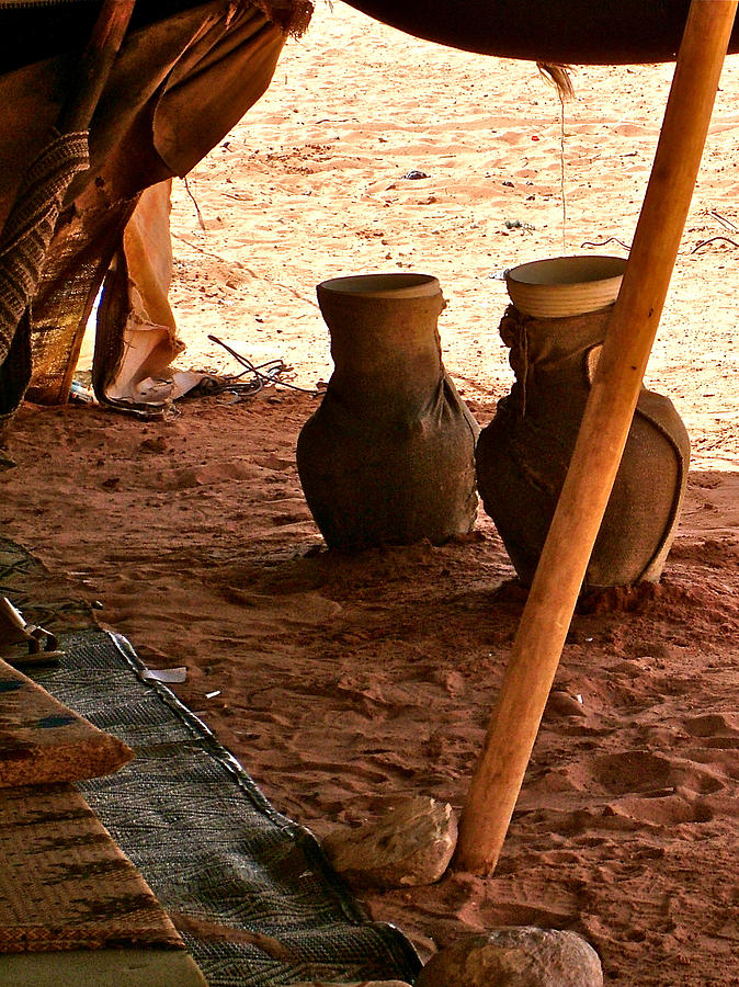 Water Jars In The Bedouin Tent In Wadi Rum In Jordan Photograph  - Water Jars In The Bedouin Tent In Wadi Rum In Jordan Fine Art Print