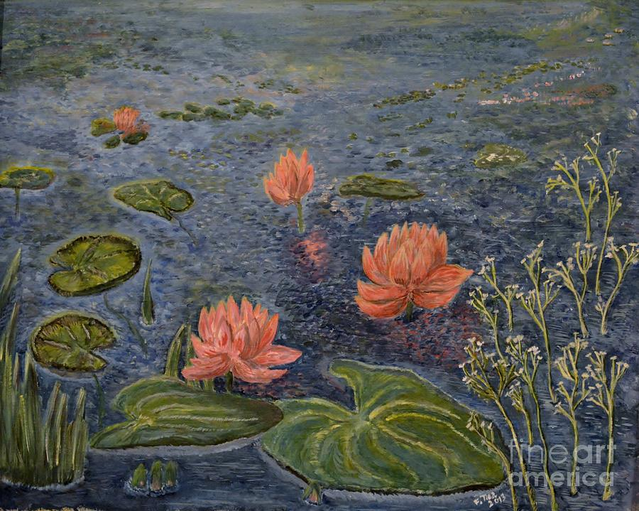 Water Lilies Lounge 2 Painting  - Water Lilies Lounge 2 Fine Art Print