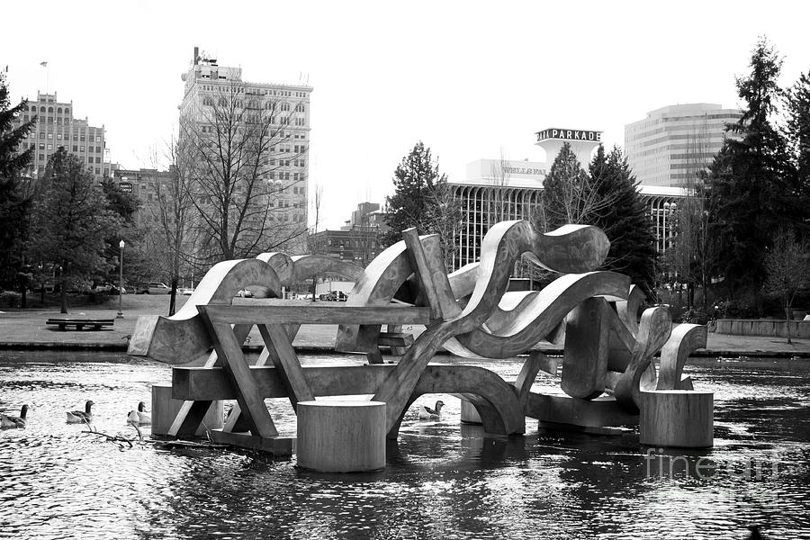 Water Sculpture In Spokane Photograph