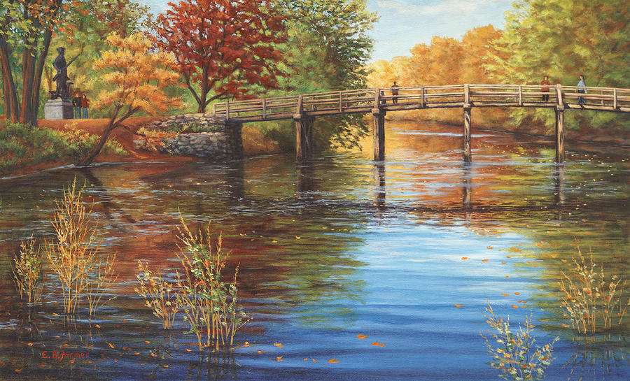Water Under The Bridge Old North Bridge Ma Painting
