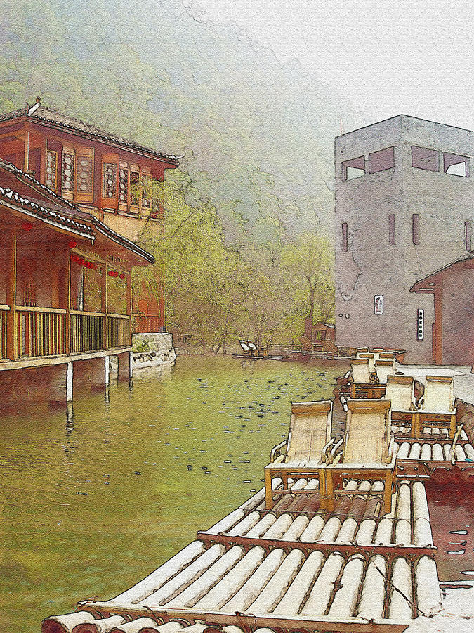 Water Village Watercolor Photograph