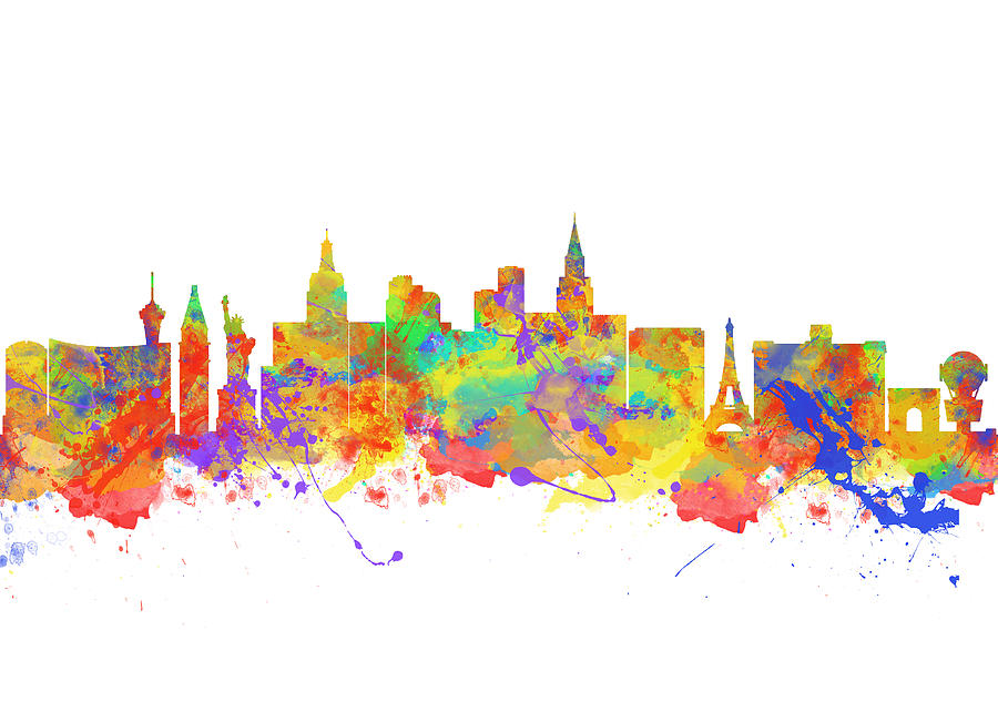 Watercolor Art Print Of The Skyline Of Las Vegas Nevada City Usa is a ...