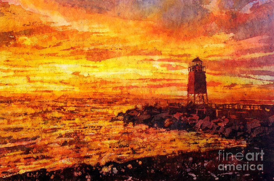Paper Painting - Watercolor Batik Of Charlevoix Lighthouse At Sunset ...