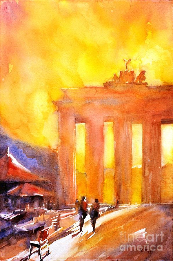 Watercolor Painting Of Brandenburg Gate Berlin Germany Painting