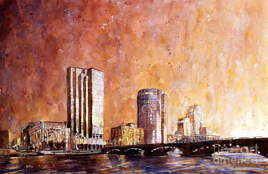 watercolor painting of downtown skyline of grand rapids