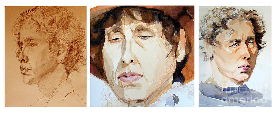 Watercolor Pand Sketch Portraits Of A Woman In Thoughts Painting