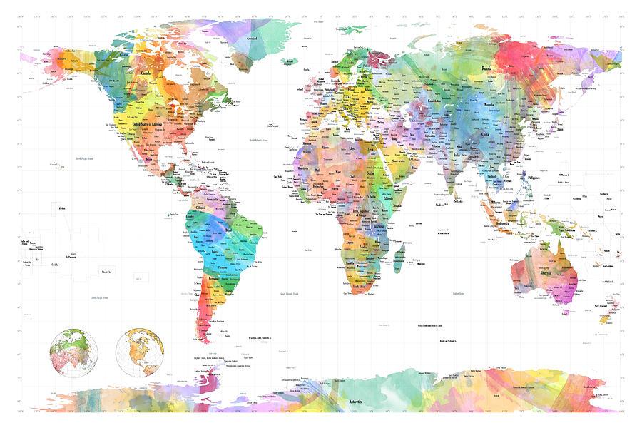 World Map Digital Art - Watercolor Political Map Of The World by Michael Tompsett