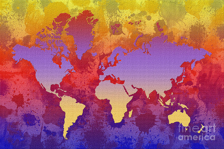 Watercolor Splashes World Map On Canvas Digital Art