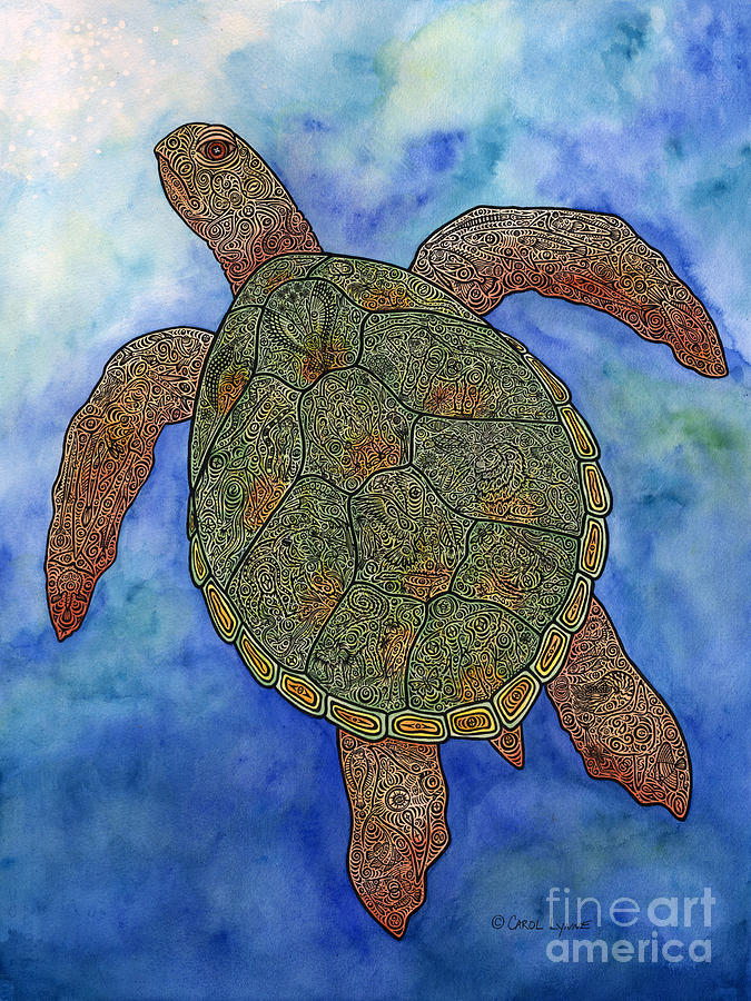 Watercolor Tribal Turtle  Mixed Media  - Watercolor Tribal Turtle  Fine Art Print