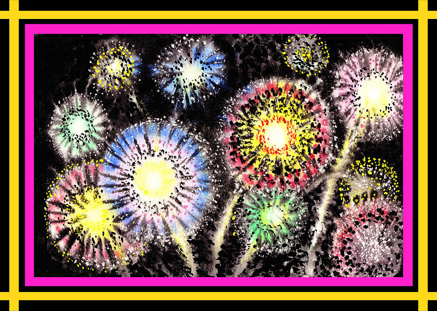 Watercolorful Fireworks Painting