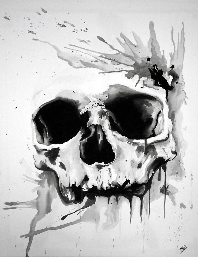 Watercolour Skull Painting by Aaron De la Haye