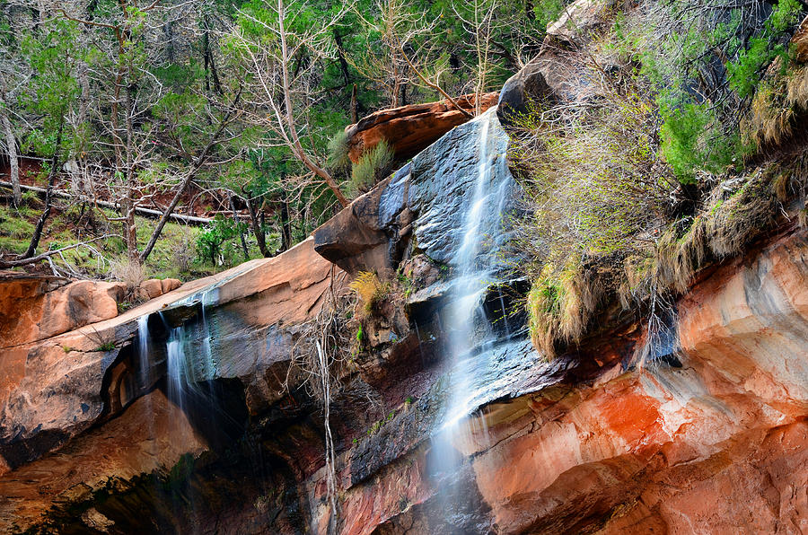 Waterfall At Emerald Pools In Zion Canyon Photograph