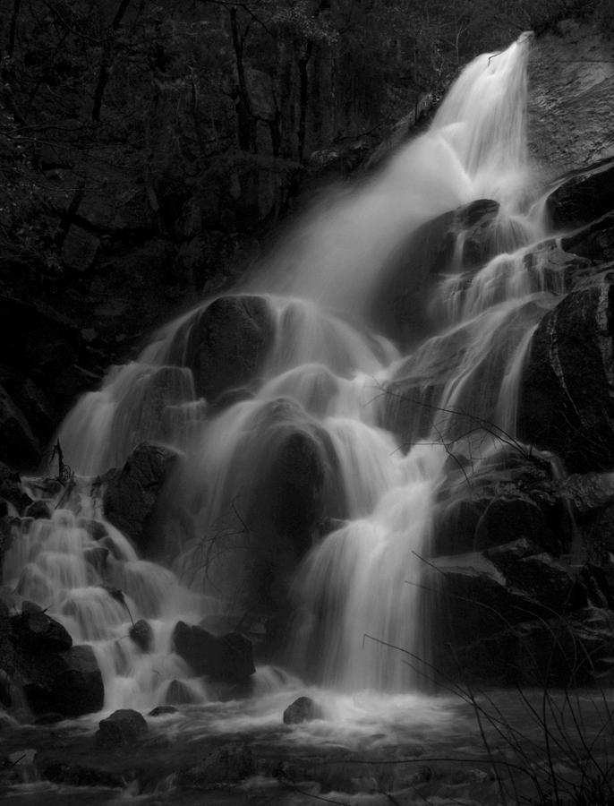 Waterfall In Black And White Photograph  - Waterfall In Black And White Fine Art Print