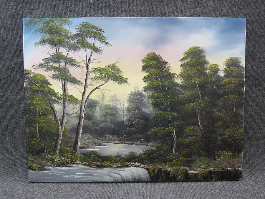 Waterfall In The Trees Painting