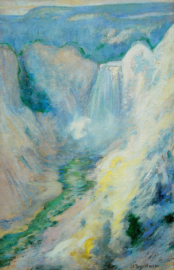 John Henry Twachtman Painting - Waterfall In Yellowstone by John Henry Twachtman