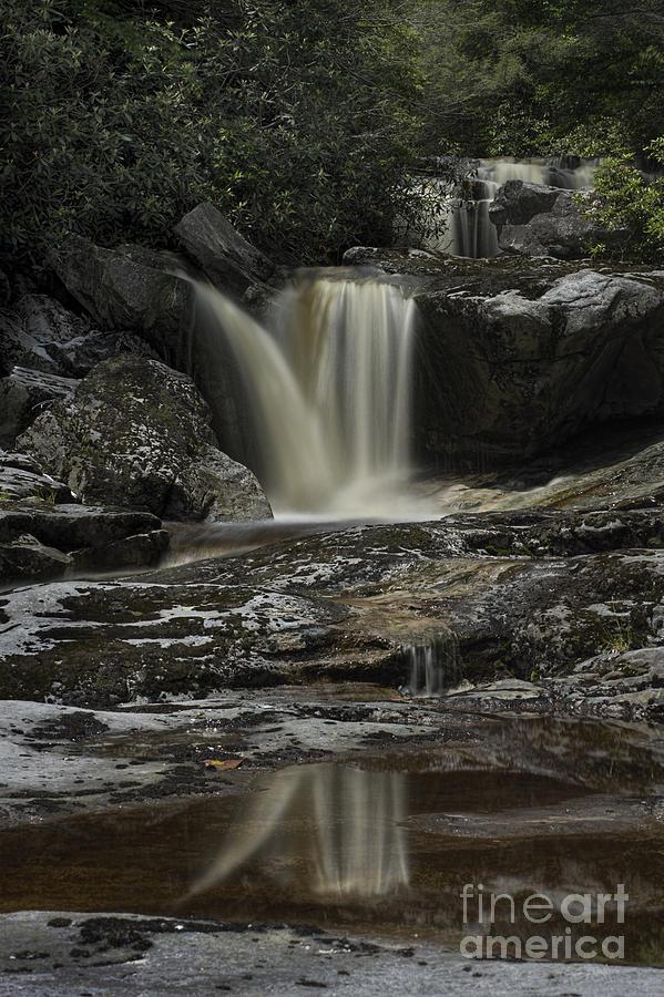 Waterfall Reflection On Big Run River  Photograph