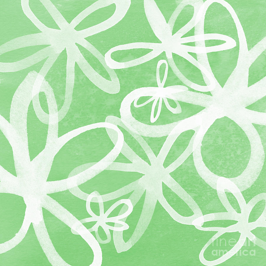 Large Abstract Floral Painting Painting - Waterflowers- Green And White by Linda Woods