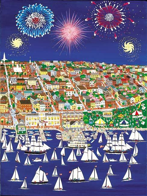 An Annual Exciting Event Near The 4th Of July. Painting - Waterfront Festival by Patricia Palermino