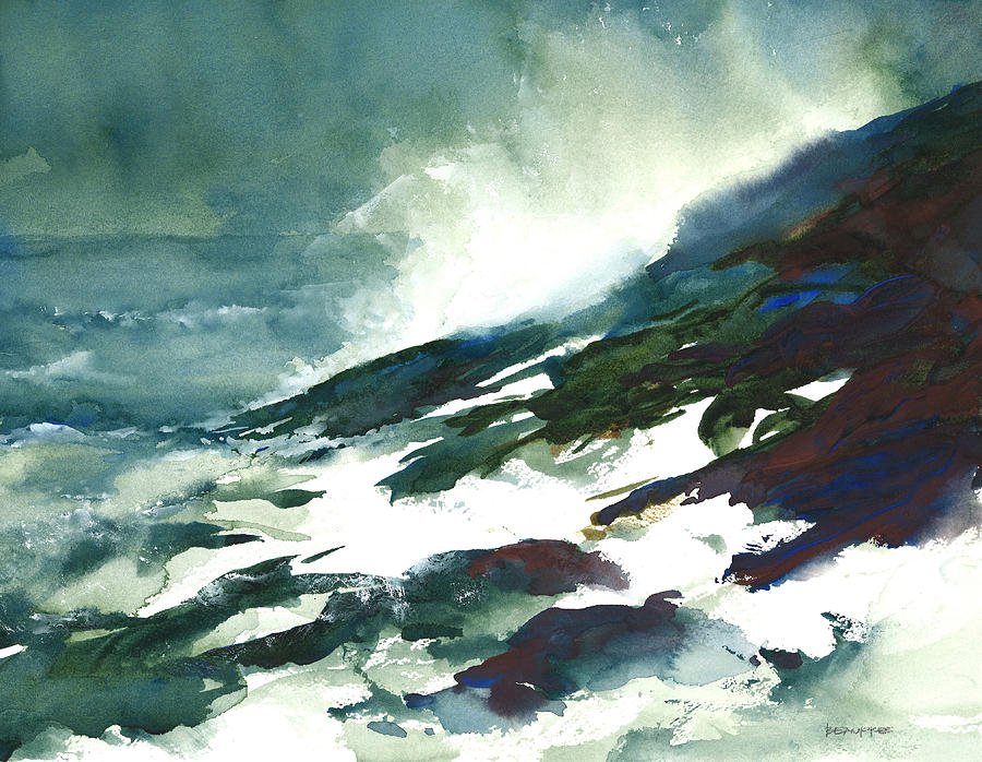 Wave And Rocks - Storm On The North Shore Painting