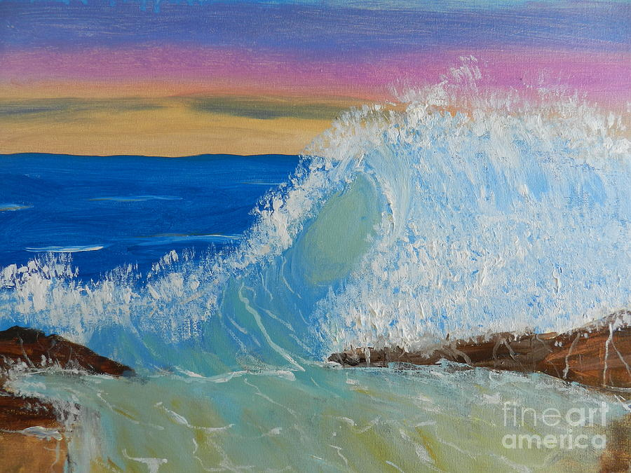 Wave At Sunrise Painting  - Wave At Sunrise Fine Art Print