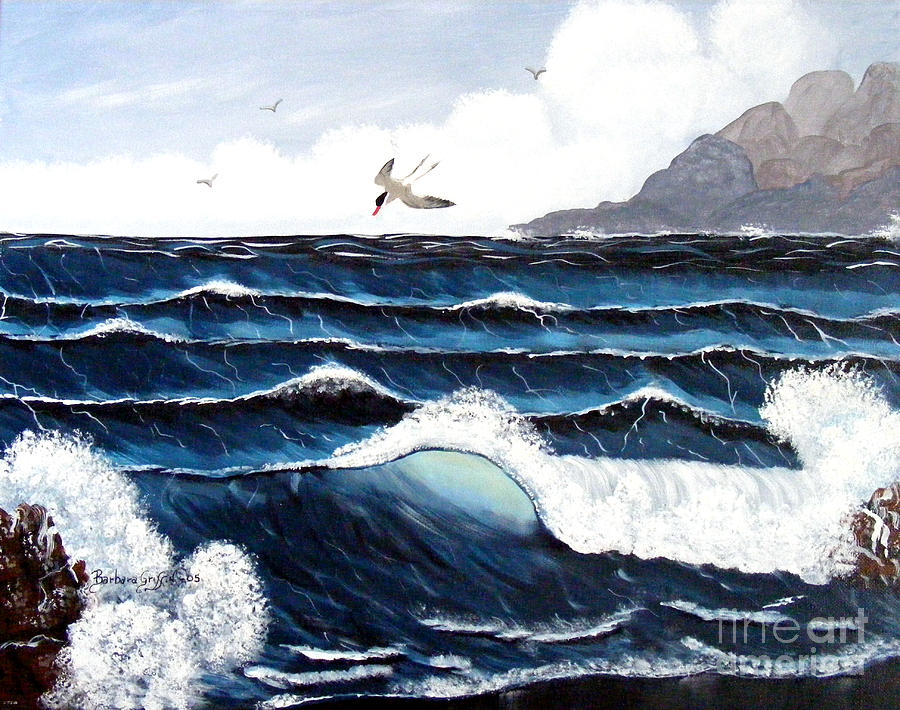 Waves And Tern Painting  - Waves And Tern Fine Art Print